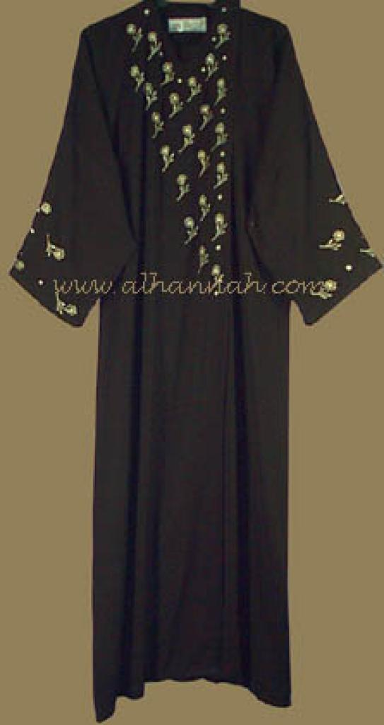 Khalije Style Abaya with Silver Threaded Embroidery and Matching Shayla ab202