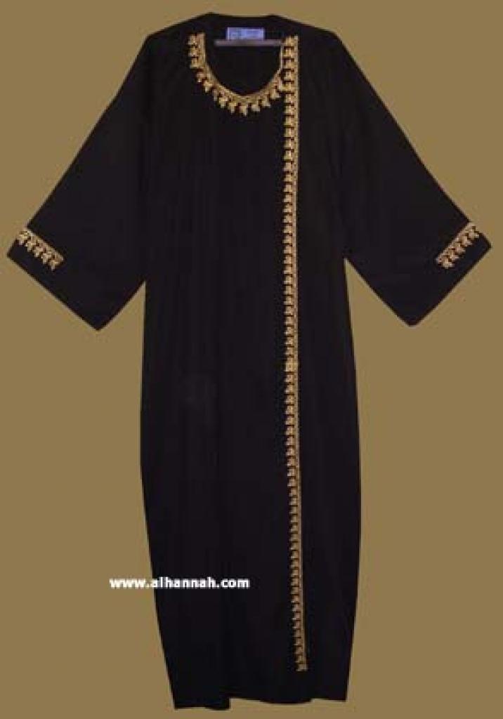 Classic Khalije (Gulf) style abaya with matching shayla (oblong scarf.) ab261