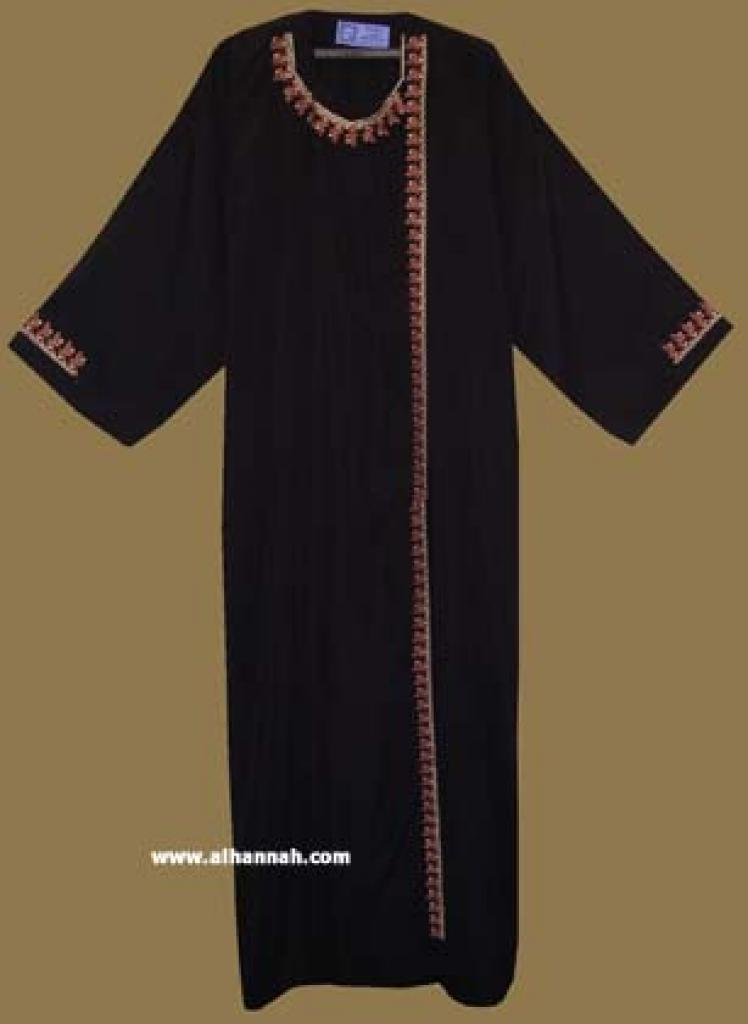 Classic Khalije (Gulf) style abaya with matching shayla (oblong scarf.)  ab262
