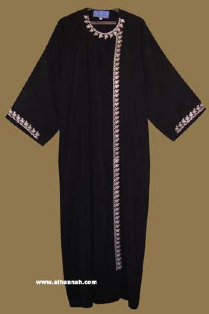 Classic Khalije (Gulf) style abaya with matching shayla (oblong scarf.)  ab263