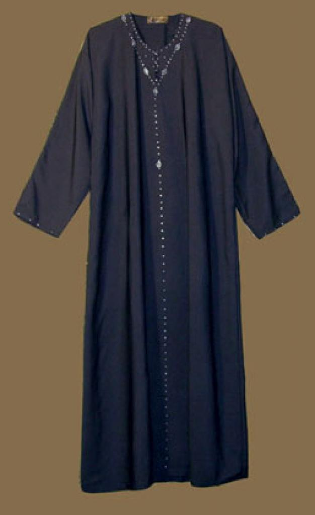 Saudi pull over abaya with crystal accents and with matching shayla (oblong scarf.) ab268