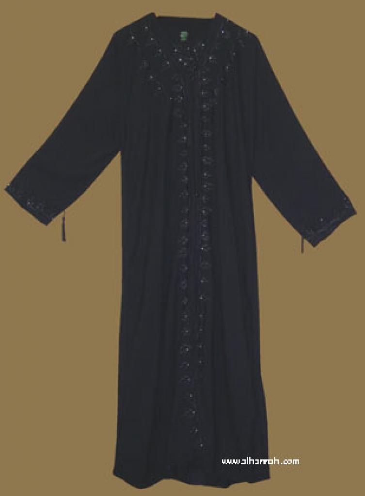Khalije (Gulf) style abaya with matching shayla (oblong scarf.) ab278