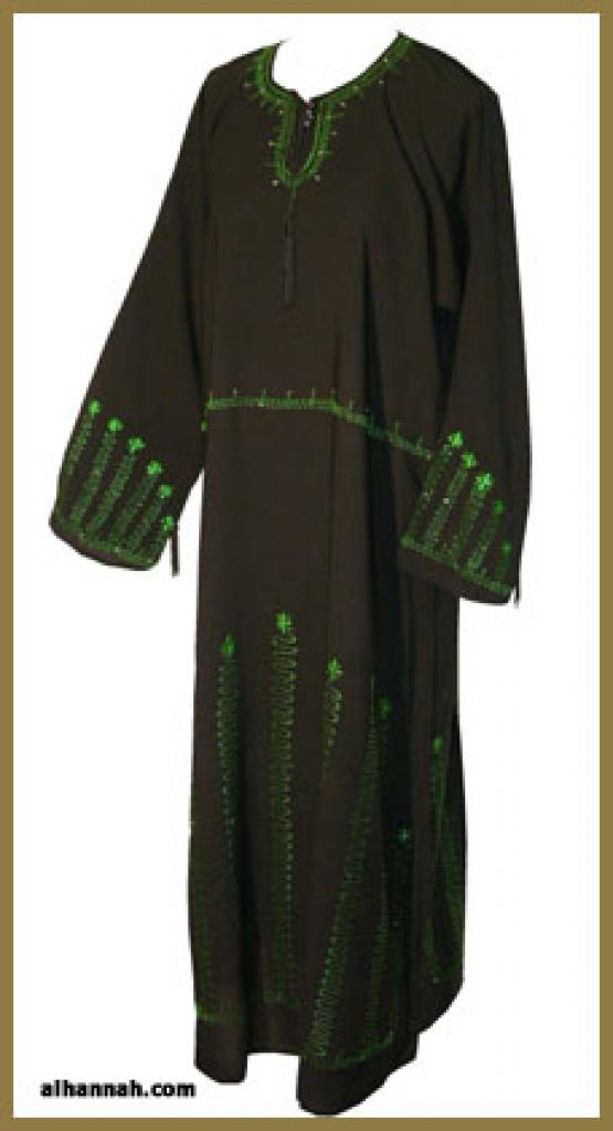 Traditional Saudi pull-over abaya with Crystal accents ab290