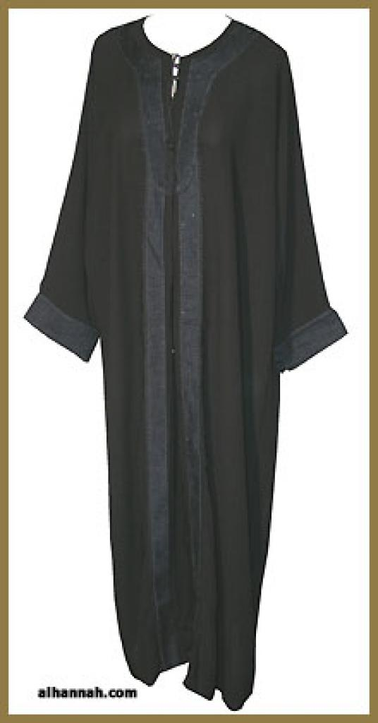 Traditional Saudi pull-over abaya with Crystal accents ab292