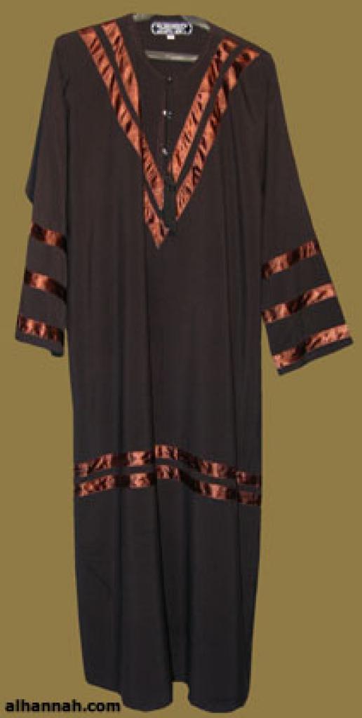 Traditional Saudi pull-over abaya with Satin Trim ab293