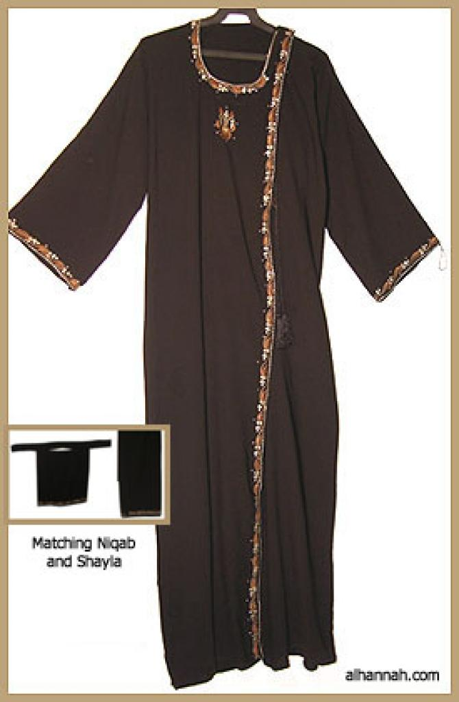 Omani style Abaya with Crystal Accents ab296