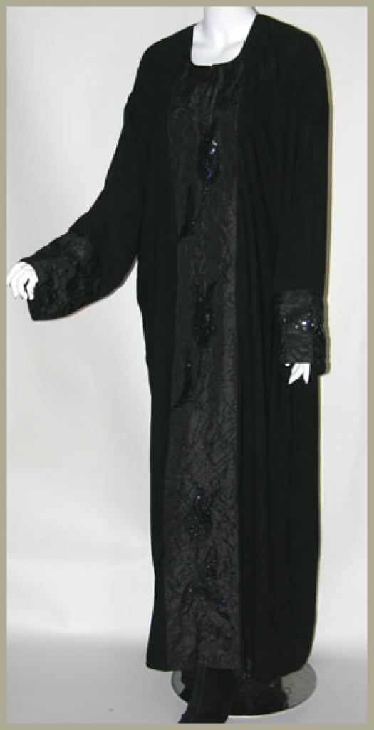 Traditional Embroidered pull-over abaya with Satin Trim ab338