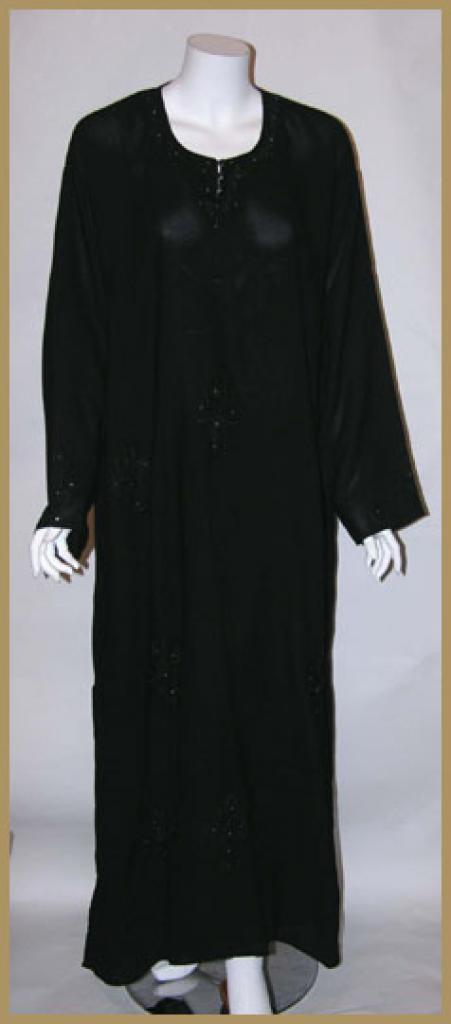 Saudi pull over abaya with crystal accents and with matching shayla (oblong scarf.) ab345