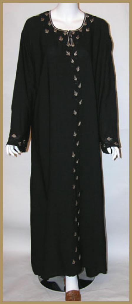 Saudi pull over abaya with embroidery and matching shayla (oblong scarf.) ab346
