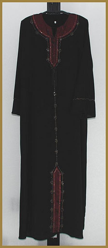 Satin Trim Pull-Over Abaya ab369