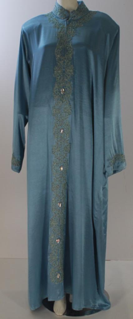 Al Karam Embroidered Satin Pull Over Abaya  ab423