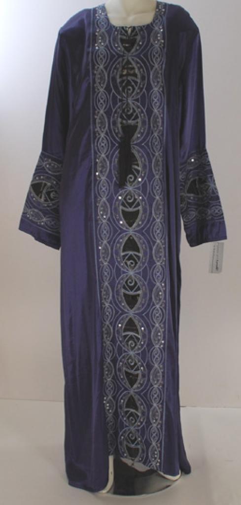 Al Karam Embroidered Satin Leaves Abaya ab425