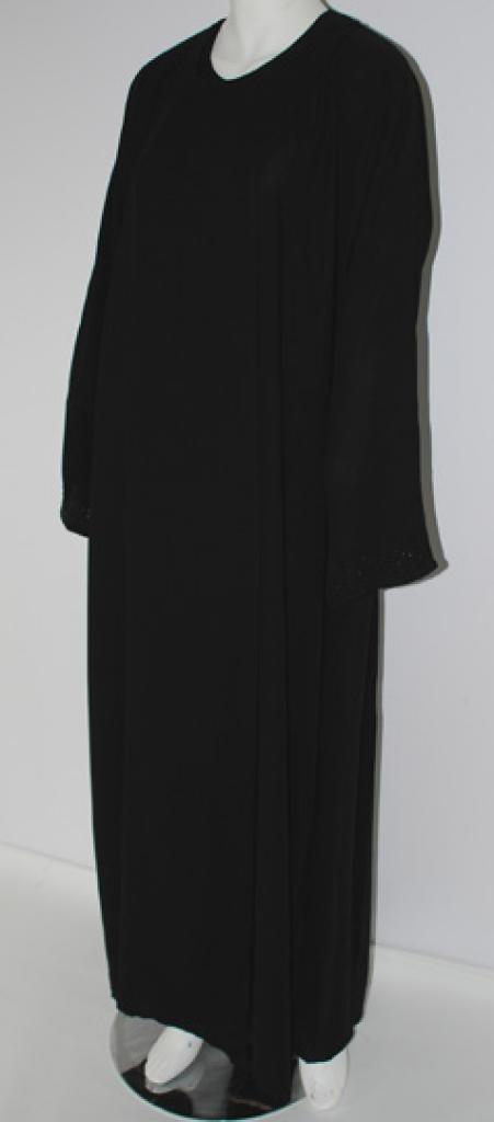 Emirate Style Shoulder-Close Abaya with Beaded Cuffs ab460