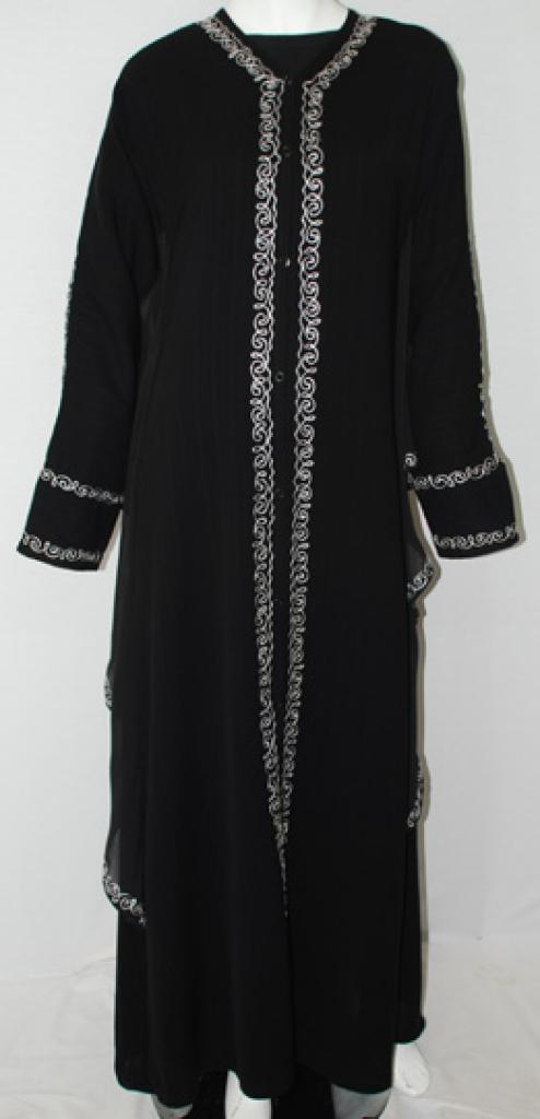 Spirals Embroidered Jordanian Abaya ab490