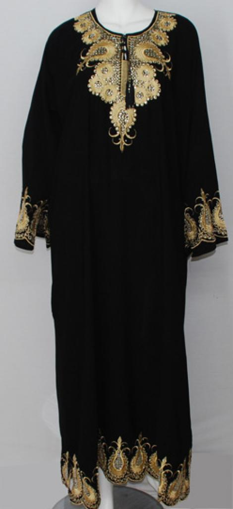 Paisley Spirals Embroidered Georgette Abaya ab492