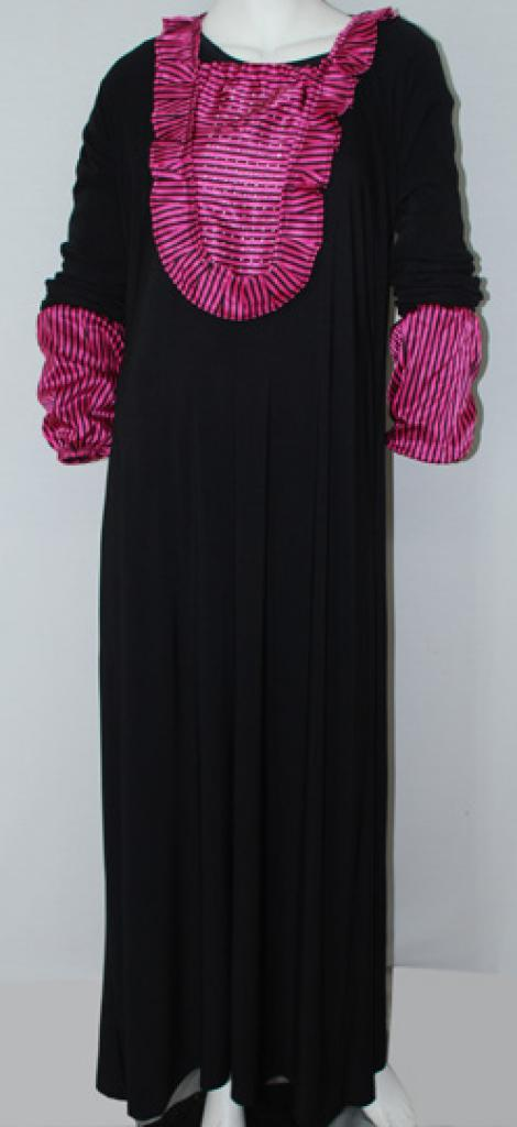 Traditional Egyptian Abaya with Satin Accents ab504
