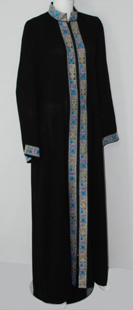 Al Karam Geometric Pattern Embroidered Abaya  ab507