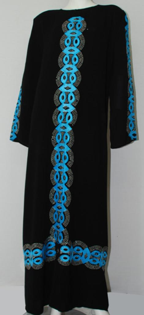 Traditional Egyptian Abaya with Satin Accents ab515