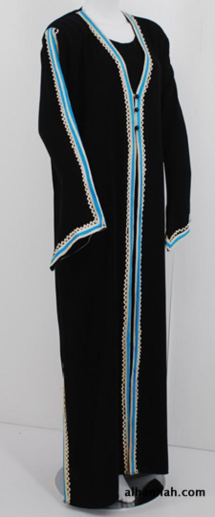 Traditional Egyptian Abaya with Contrasting Trim ab518