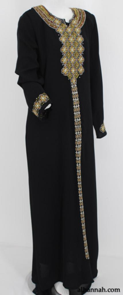 Al Karam Floral Embroidered Pull Over Abaya ab536