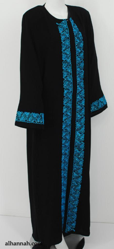 Traditional Egyptian Abaya with Contrasting Embroidery ab549
