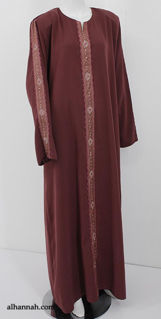 Embroidered Arabian Abaya with Satin Trim ab551