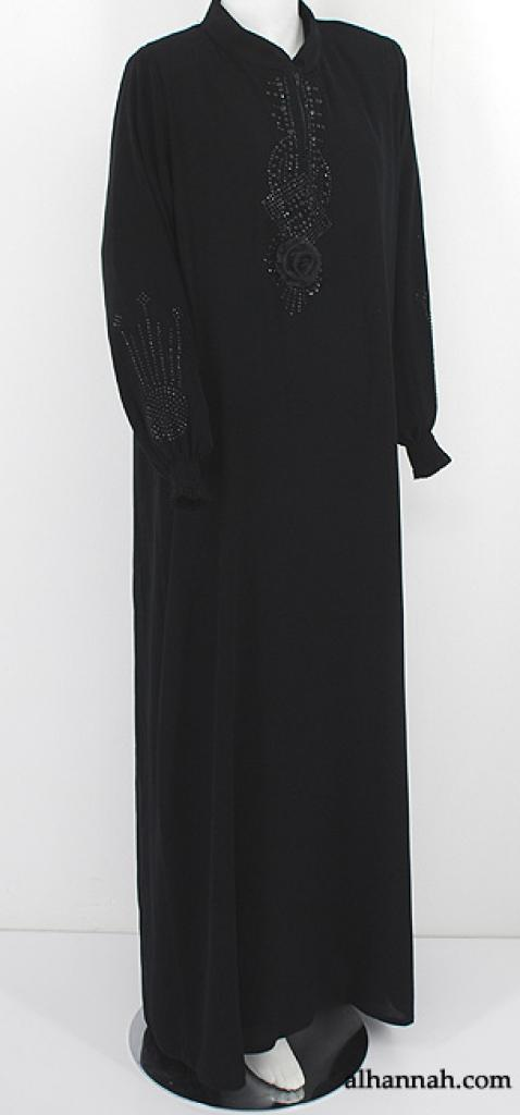 Premium Al Karam Floral Accent Beaded Abaya ab552