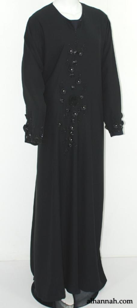 Deluxe Khaliji Pull-over Abaya with Floral Applique ab553