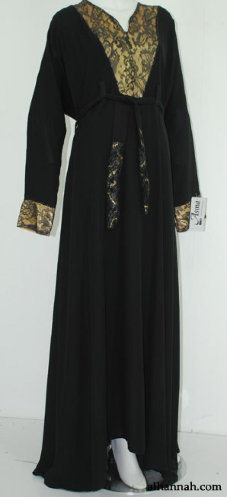 Deluxe Jordanian Abaya with Lace Trim ab559