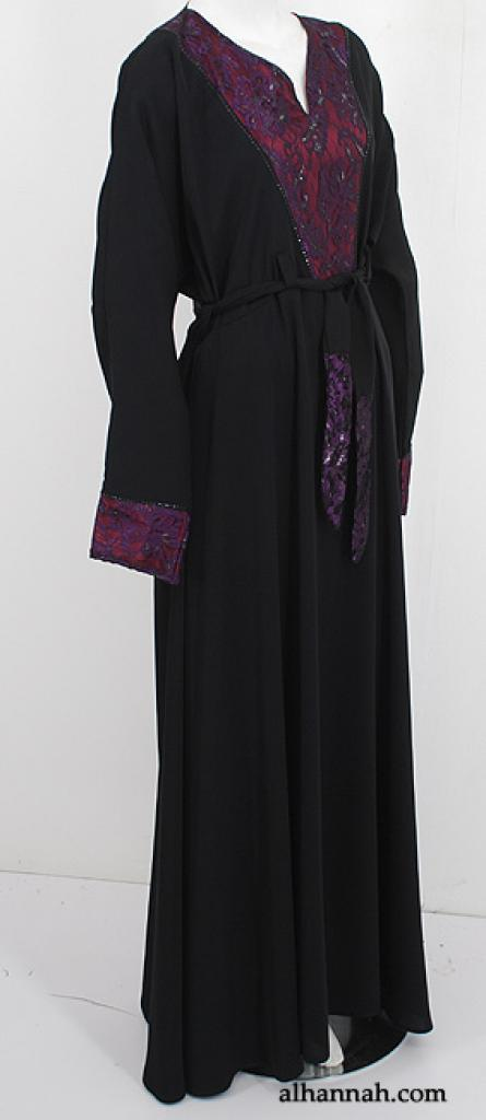 Deluxe Jordanian Abaya with Lace Trim ab560