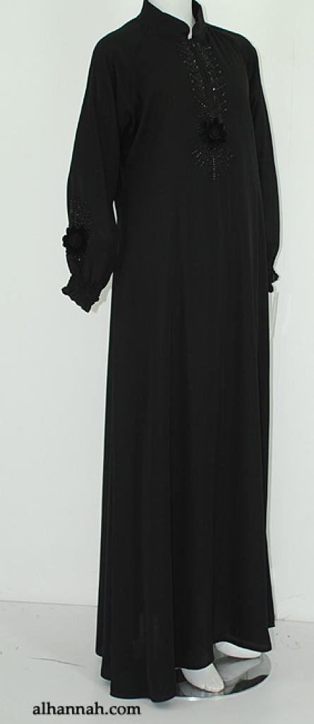 Deluxe Jordanian Abaya with Floral Applique ab563