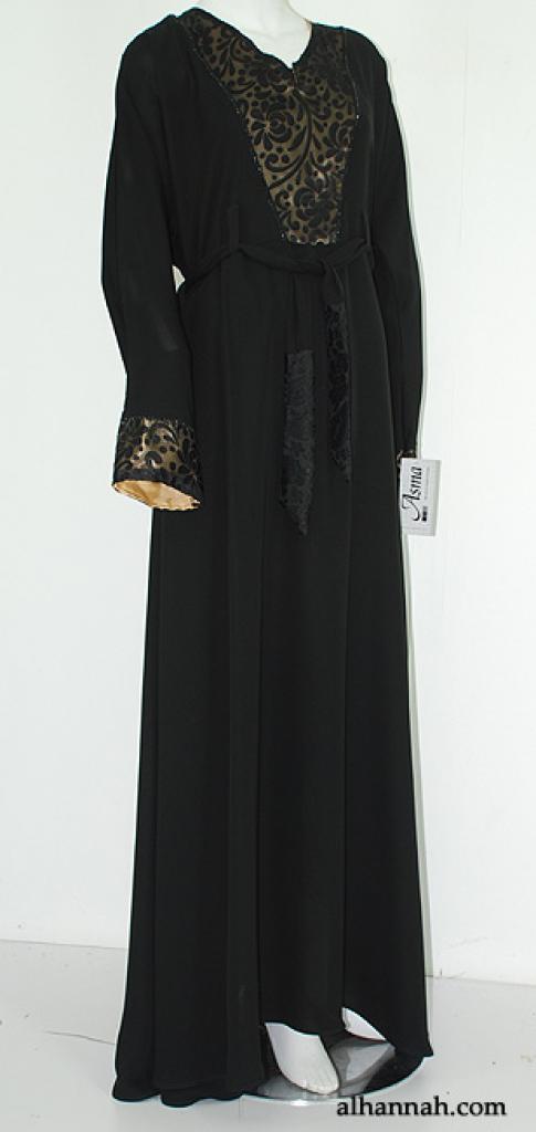 Deluxe Jordanian Abaya with Velvet Trim ab565
