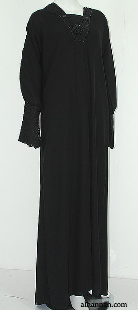 Deluxe Jordanian Abaya with Floral Applique  ab567