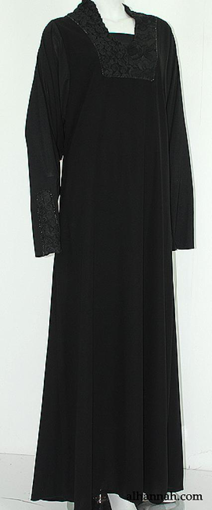Deluxe Jordanian Abaya with Floral Applique  ab568