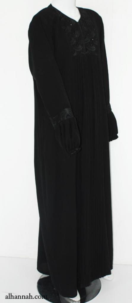 Pleated Embroidered Womens Abaya ab571