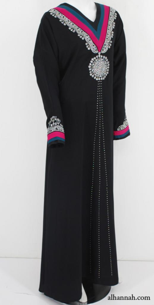Deluxe Egyptian Abaya with Beading and Satin Applique ab583