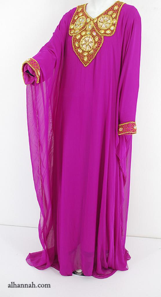 Premium Chiffon Embroidered Multi-Layer Abaya ab596