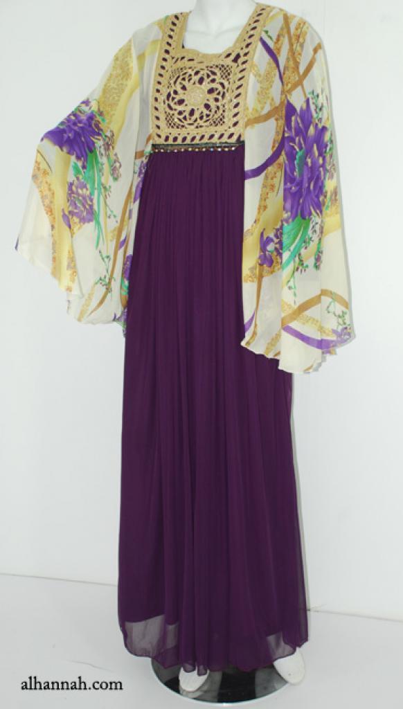 Premium Chiffon Embroidered Multi-Layer Abaya ab611
