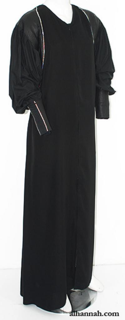 Crystal Trimmed Coat Style Abaya ab624