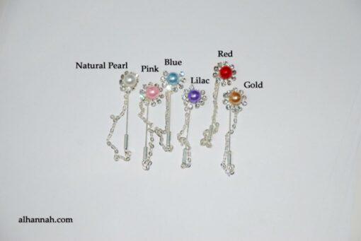 Rhinestone Pearl Stick Hijab Pins  ac288