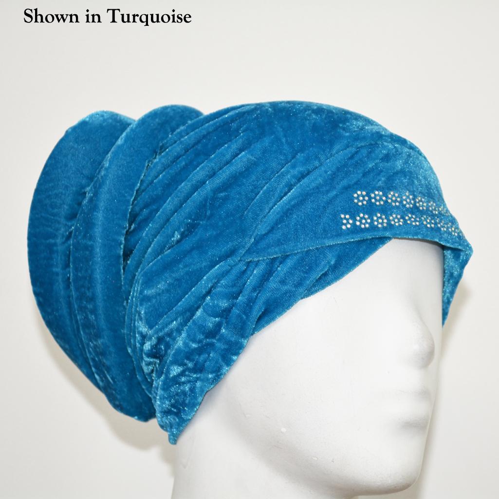 Turban Style Velour Underscarf Cap ac305