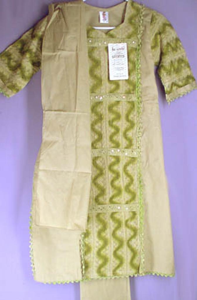 Girls Green Embroidered and Mirrored Salwar Kameez ch124