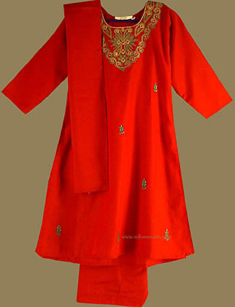 Girl's Embroidered and Mirrored Salwar Kameez   ch309