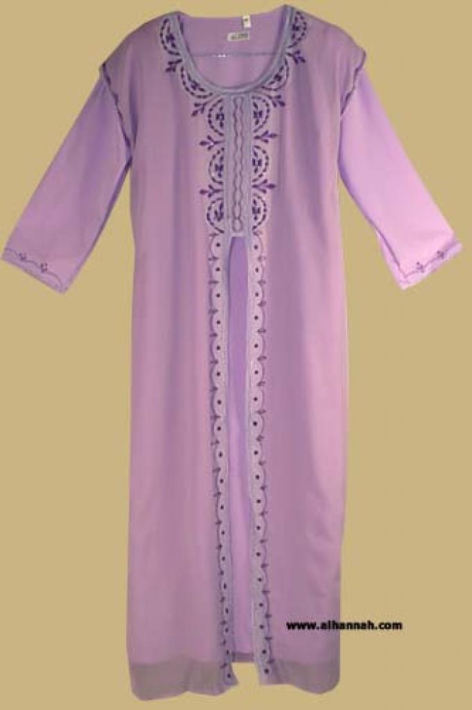 Girl's Arabian Thobe with Embroidered Chiffon Overlay   ch334