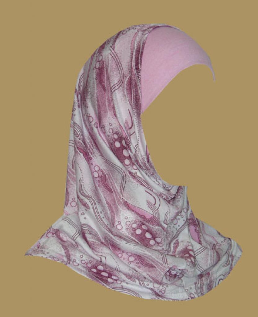 Girl's Printed Two Piece Hijab ch405