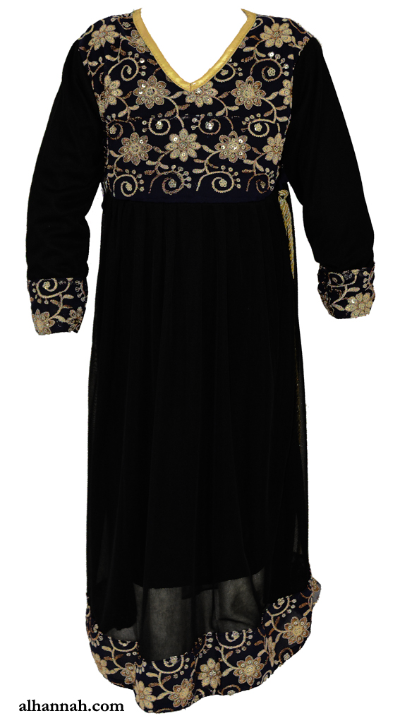 Noura Abaya - Girls Embroidered Pull Over Style ch500