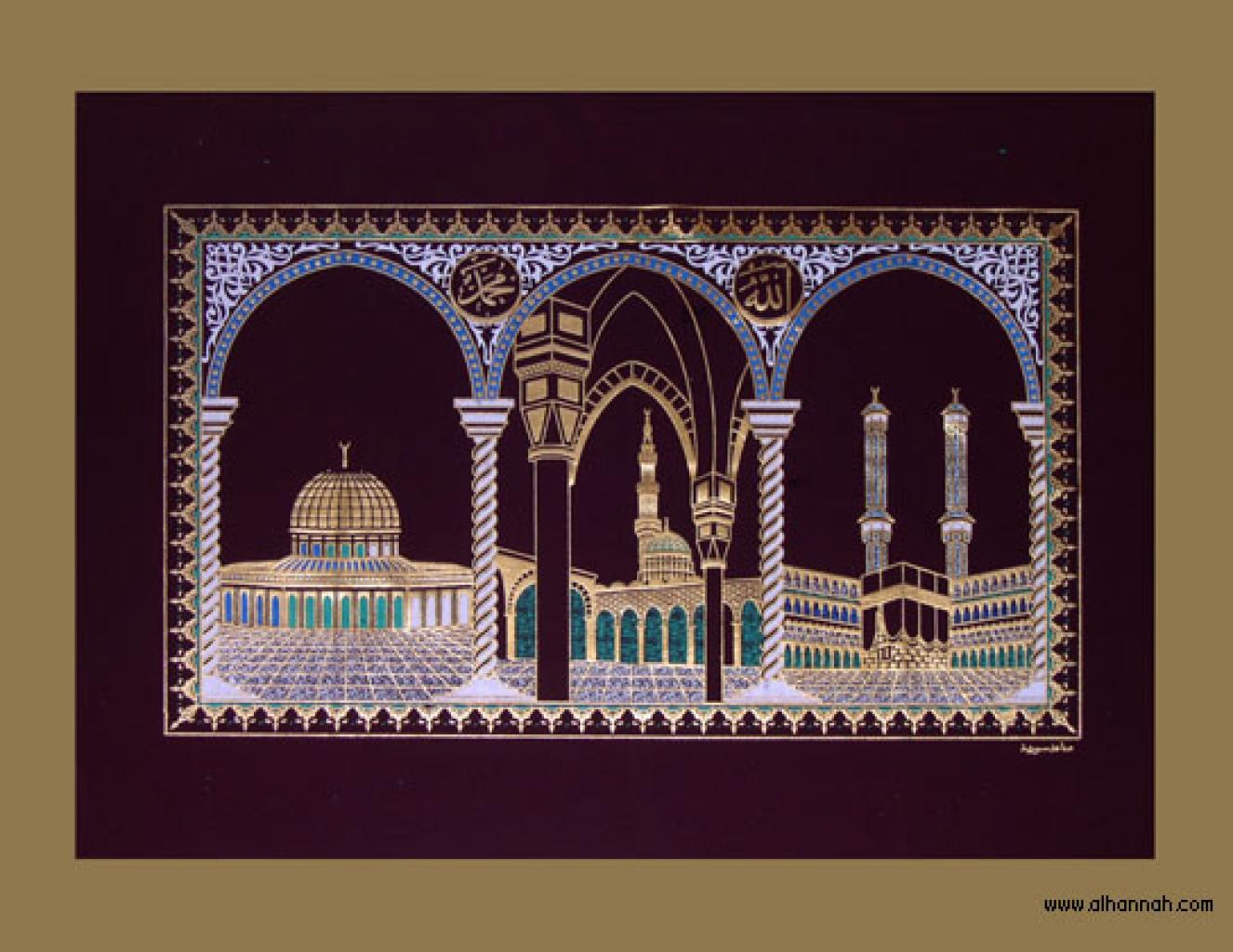 Guilded Wallhanging Featuring Three Masjids gi354