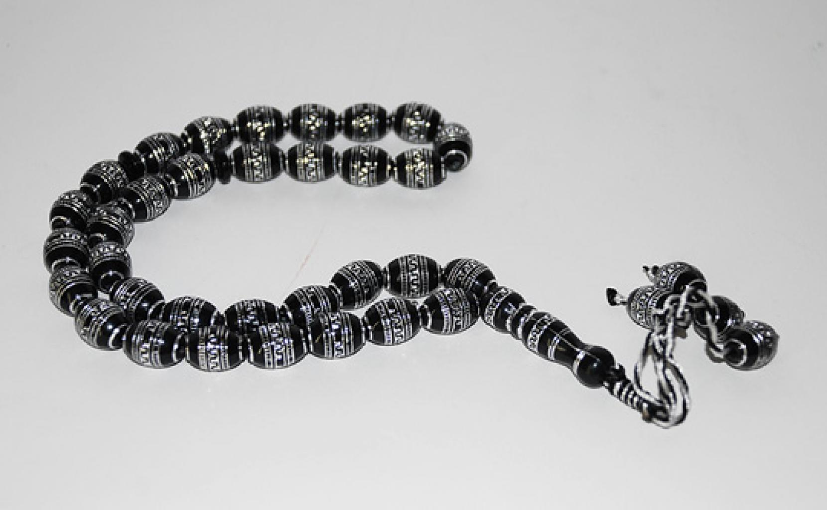 Prayer Beads with Silver Relief Design gi560