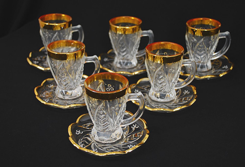 Arabian Cut Crystal Tea Set with Gold Trim   gi579