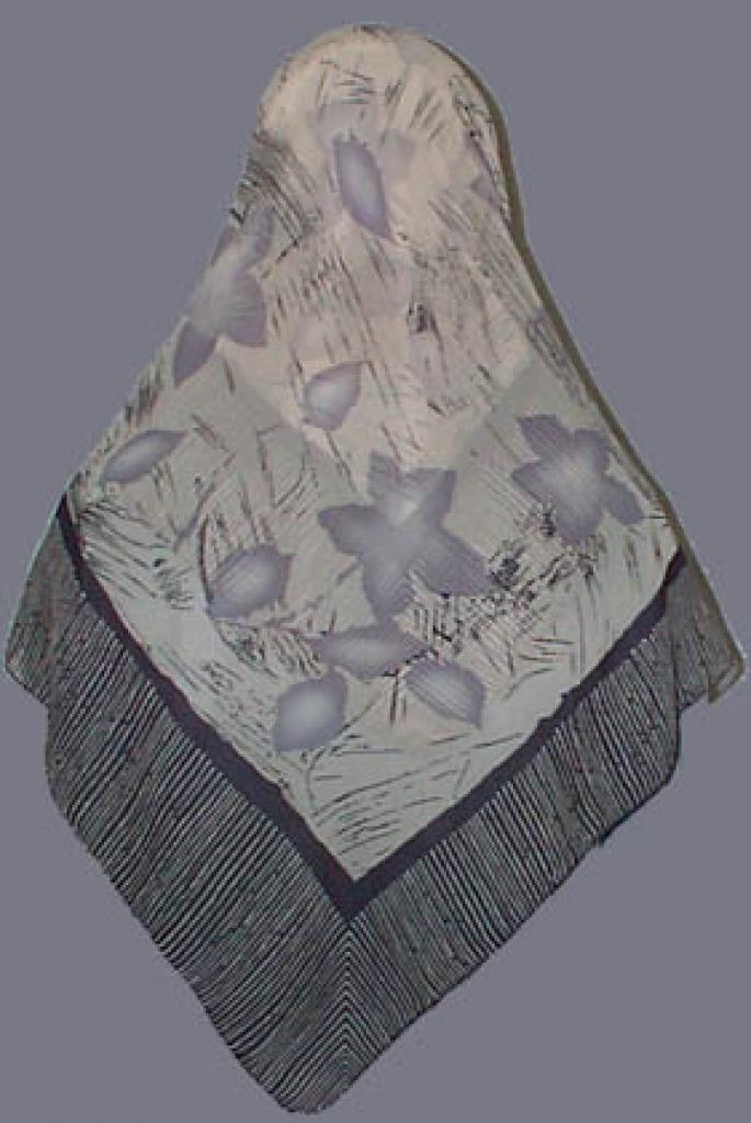 Chiffon Hijab Striped border with flower print  hi101